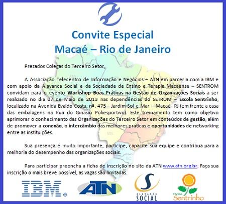 Convite evento de Macaé-RJ