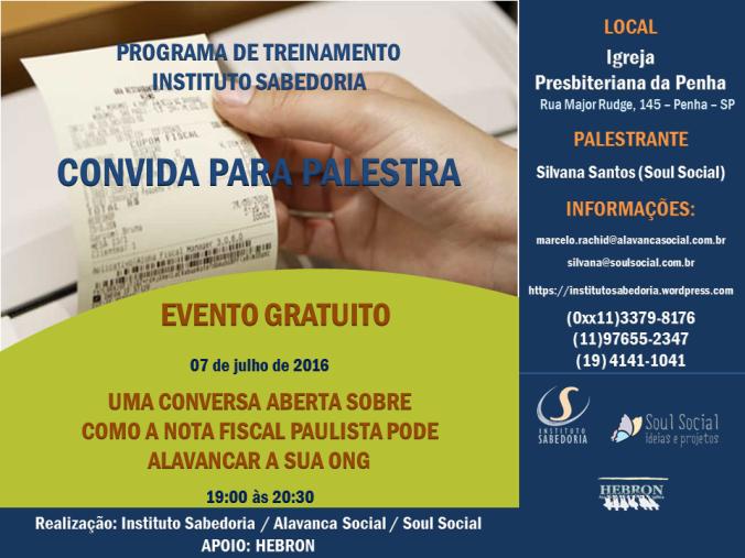 Flyer palestra sobre Nota Fiscal Paulista_jul16